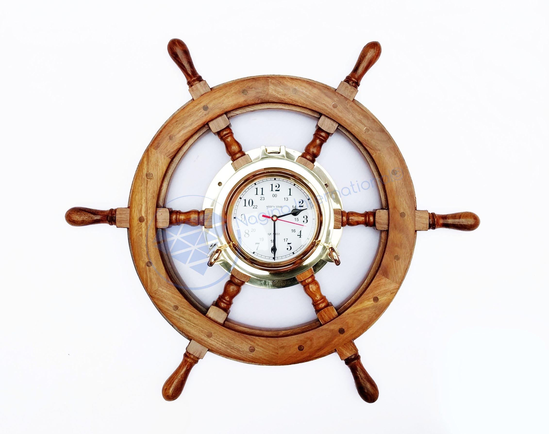 26'' Nautical Premium Wide Brass Porthole Ship Wheel Clock | Wall Hanging | Numerals | Vintage Gift | Nagina International