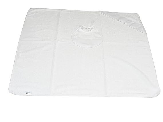 Capa de Baño y Babero de Punto De cruz en Blanco y con hilos(80x80) Fabricada en España 100% algodón ...: Amazon.es: Bebé