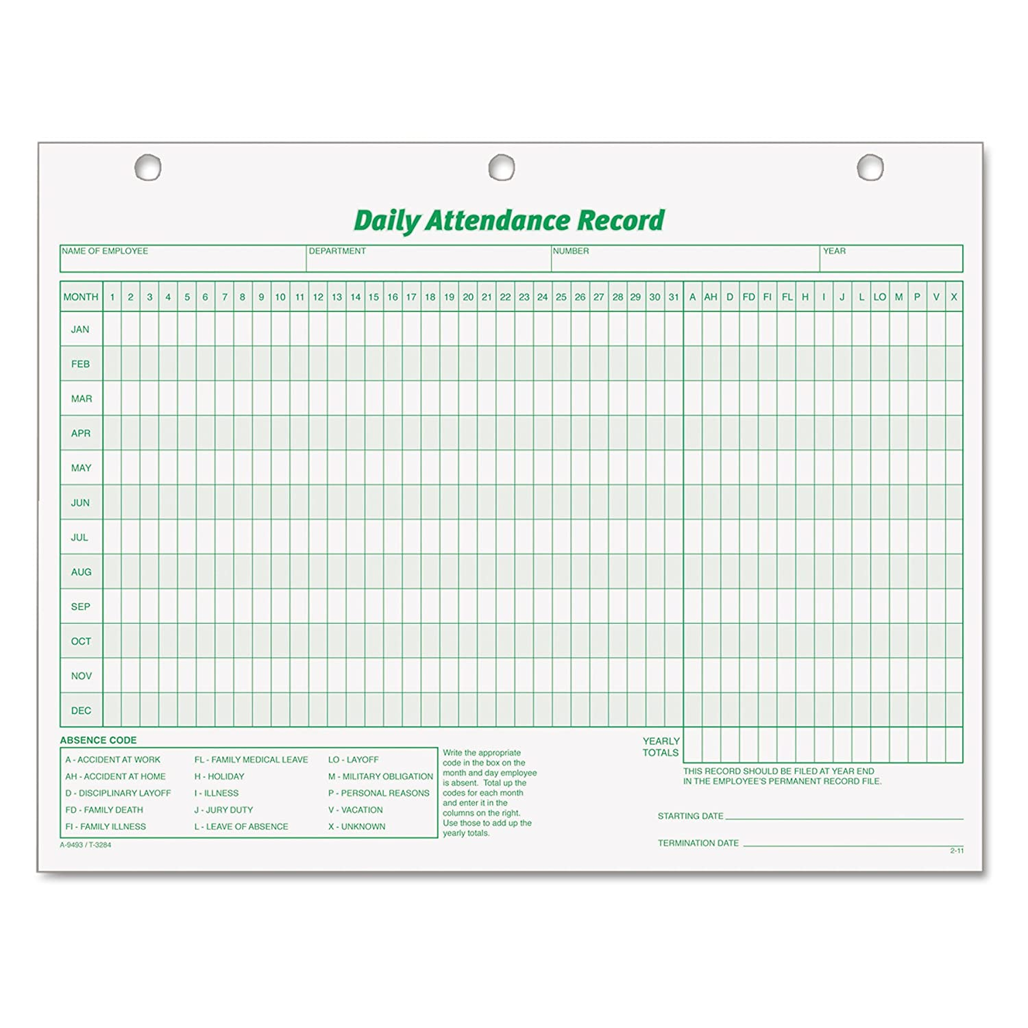 B00008XPLY TOPS 3284 Daily Attendance Card, 8 1/2 x 11 (Pack of 50 Forms) 81QCRmZcNcL