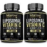 Liposomal Vitamin C Supplement [2 Pack] 1600mg with Zinc 50mg |Highest Absorption| Vitamin C Liposomal Immune Support Complex
