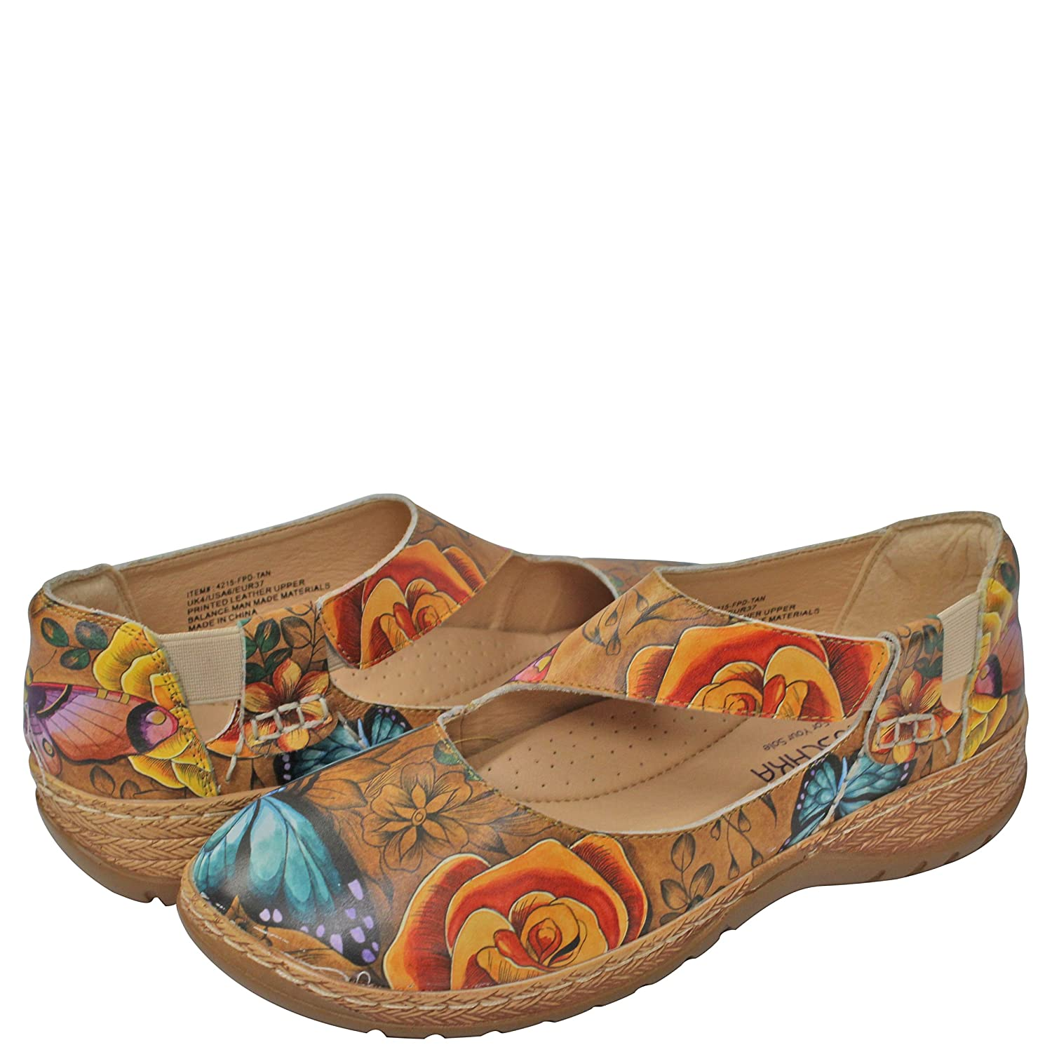 Anuschka Women's Mita Printed Leather Mary Jane,Lovely Leaves B07DB88ZQG US Size 6|Floral Paradise Tan