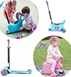 X-Free 3-in-1 Deluxe Kids Adjustable Height Scooter with Light Up Wheels(Scooter Complete with Knee Elbow and Helmet)Blue or Pink