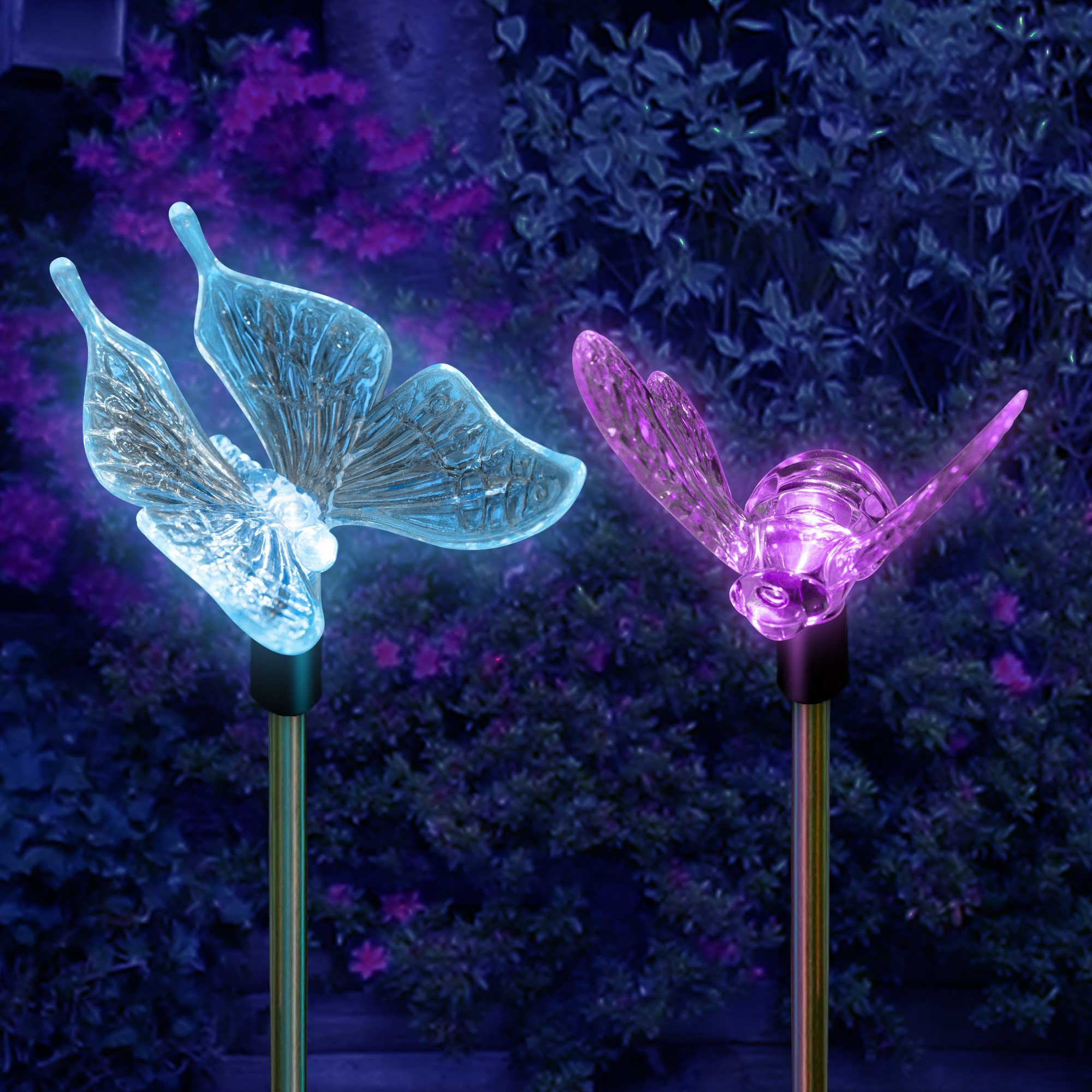 SolarDuke Solar Garden Outdoor Stake Lights Butterfly and Bumble Bee Garden Lighting Path Decoration Color Changing Patio Lawn Backyard Decor by SolarDuke (Image #4)