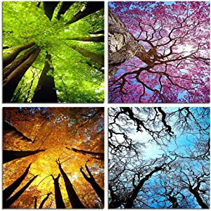 4 Panels Landscape Canvas Wall Art Spring Summer Autumn Winter Four Seasons Color Tree Painting Picture Prints Modern Giclee Artwork for Living Room Bedroom Office Home Decor Framed (12x12inchx4)