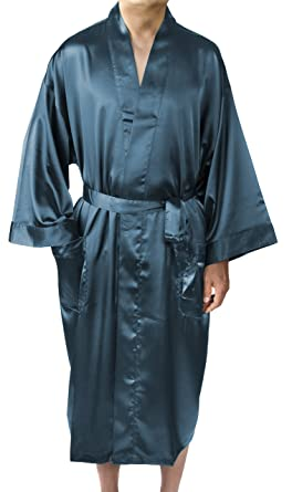 e1c62f182c Leisureland Elastic Satin Charmeuse Long 48 quot  Kimono Robe (Aurora ...