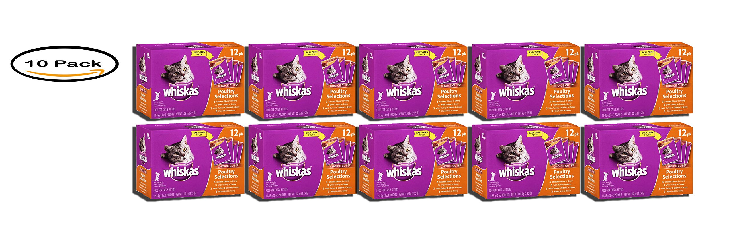 PACK OF 10 - WHISKAS CHOICE CUTS Poultry Selections Variety Pack Wet Cat Food 3 Ounces (12 Count)