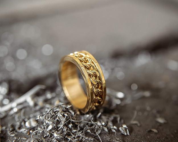 Ketten-Design-Ring Frauen Herren Edelstahl Biker Mattschwarz Gold Silber Akitsune Redemptor Ring