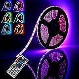 GLIME Ruban LED 5M Etanche IP65 6 Modes 20 Couleurs 300 LEDs 5050 RGB à Télécommande 44 Touches Bande Lumineuse Luminosité Réglable Déco Fête Mariage Vitrine Soirée Intérieur Extérieur + Alimentation 12V 3A