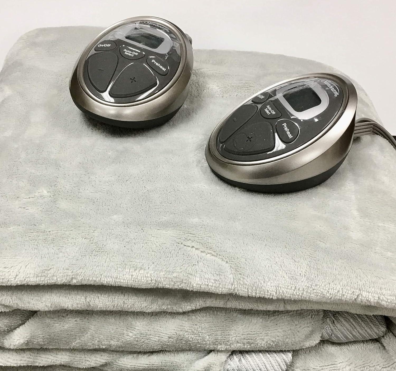 Sunbeam Fleece Heated Blanket Queen Gray 2 Controllers New