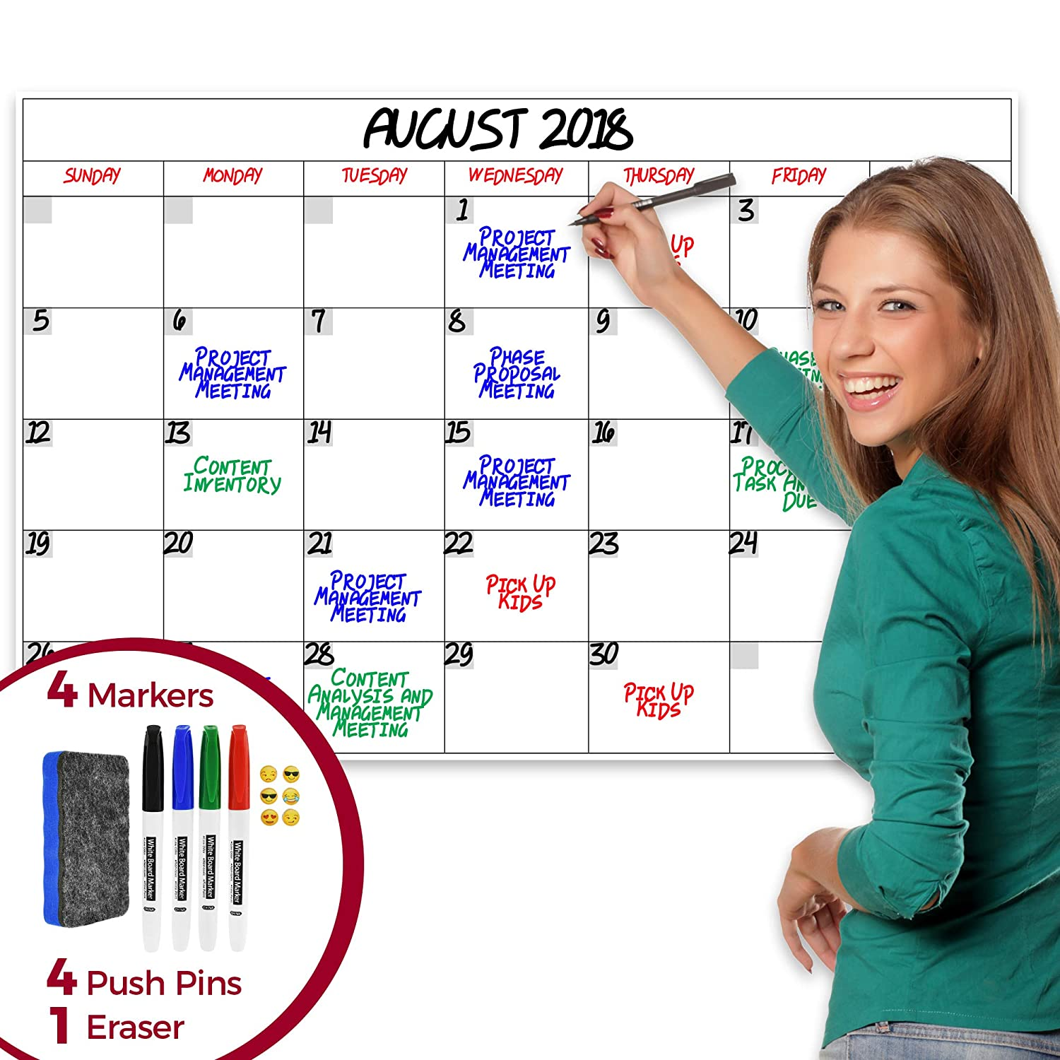 2019 Jumbo Dry Erase Laminated Wall Calendar, 24-inch by 36-inch Size, Monthly Planner for Home Office Classroom, Large Date Boxes, Reusable PET Film, Never Folded, Bonus 4 Markers, 4 Tacks, 1 Eraser
