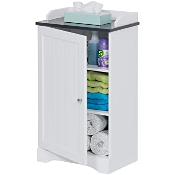Best Choice Products Bathroom Floor Storage Cabinet W Versatile Door White