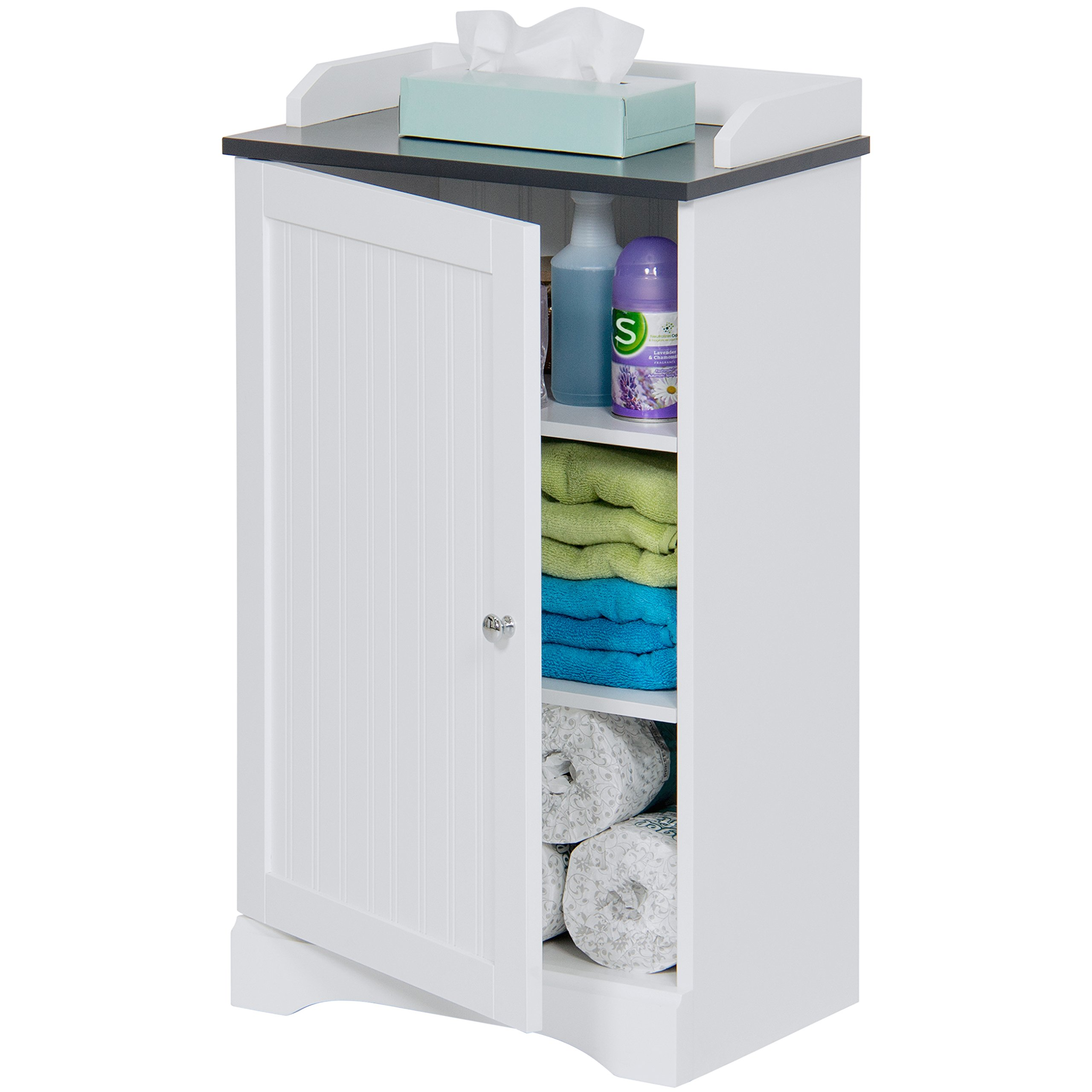 Best Choice Products Modern Contemporary Home Bathroom Floor Storage Organization Cabinet for Linens, Toiletries, Towels, Soap w/ 1 Bottom Shelf, 2 Adjusting Shelves, Versatile Door - White