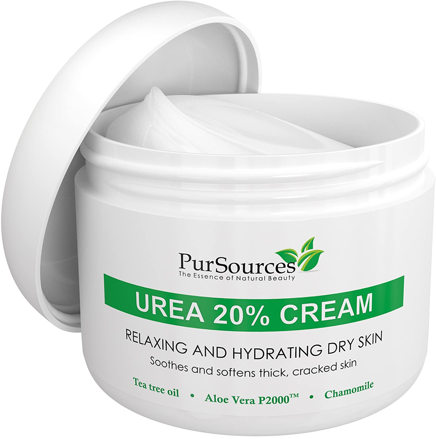 PurSources Urea 20% Healing Cream 4 oz - Best Callus Remover - Moisturizes and Rehydrates Hands, Feet and Knees to a Healthy Appearance - Soothes and Softens Thick, Cracked, Rough Dead and Dry Skin