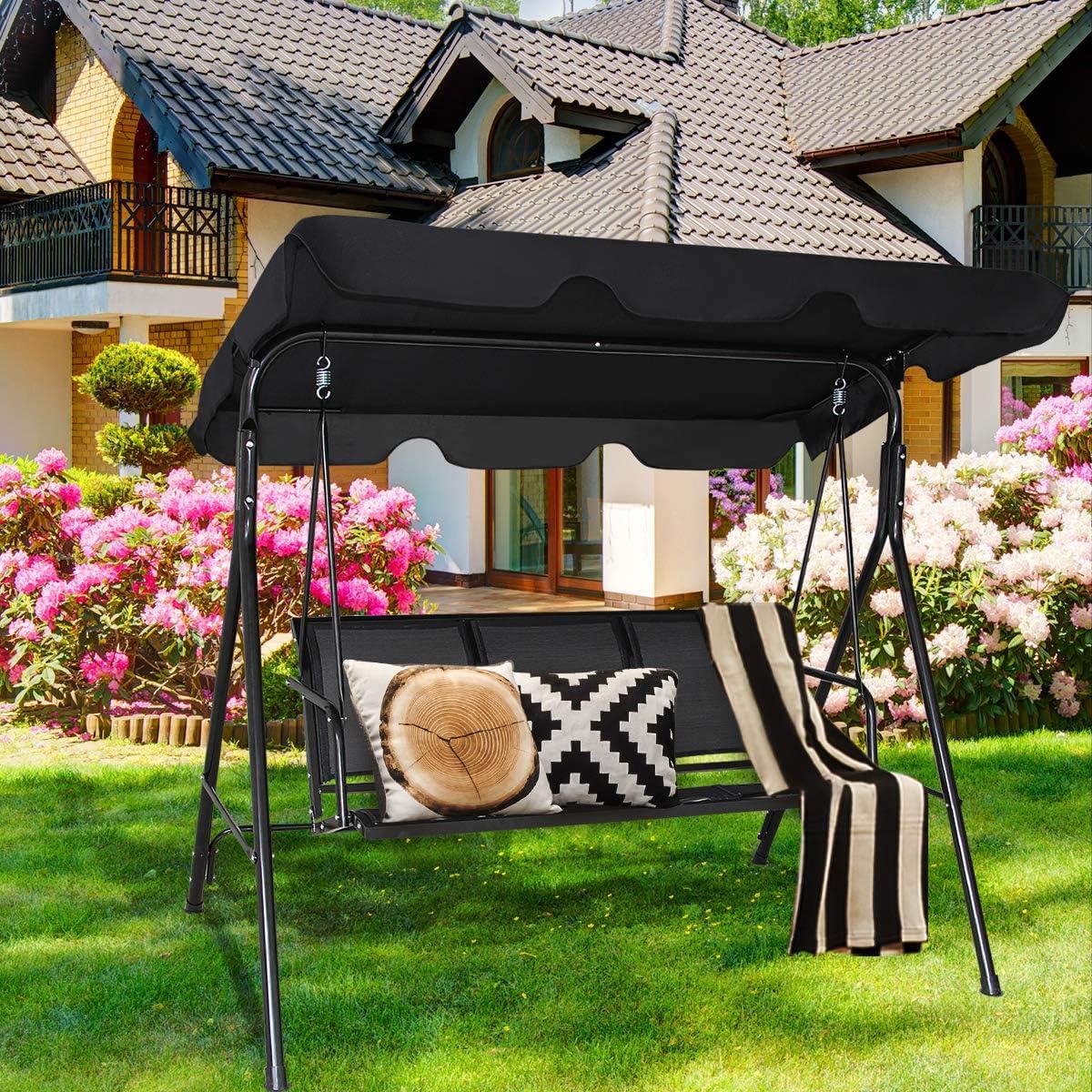 COSTWAY - Silla de jardín de 3 plazas, cubierta de acero con revestimiento de polvo, asientos acolchados para patio, hamaca de metal, 240 kg, negro: Amazon.es: Hogar