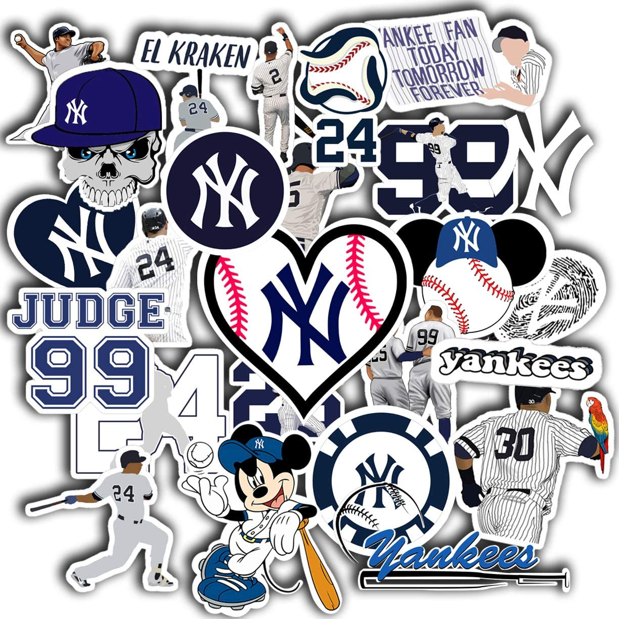 Stickers Pack New York Aesthetic Yankees Vinyl Logo Baseball Decal NY Car Truck Window Sticker Pack of 50
