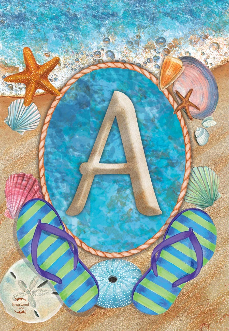 Briarwood Lane Summer Monogram Letter A Garden Flag Flip Flops Seashells 12.5