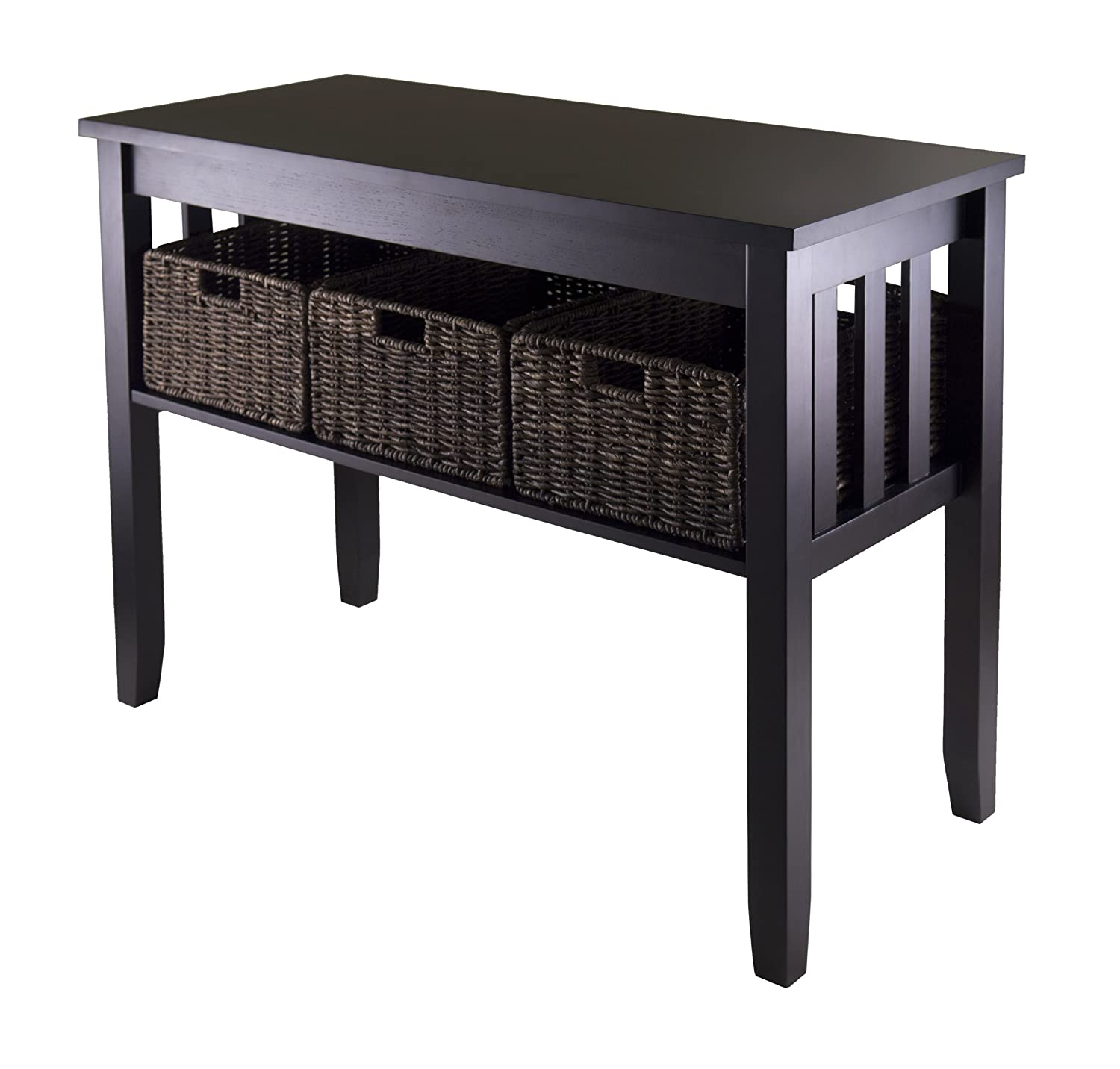 Amazon winsome morris console hall table with 3 foldable amazon winsome morris console hall table with 3 foldable basket kitchen dining geotapseo Image collections