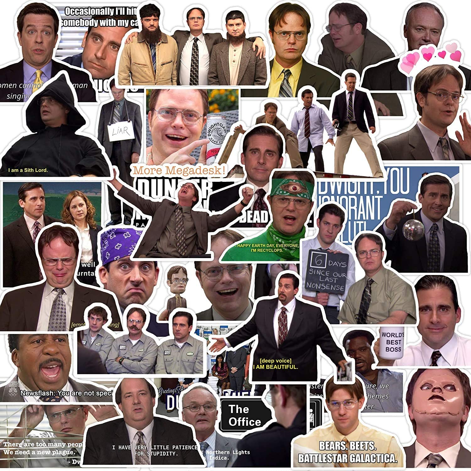 The Office Merchandise Stickers[50pcs], Funny Meme Sticker Pack with Dunder Mifflin Michael Dwight Jim Mike Design for Hydro Flask Folder Water Bottles Laptop Notebook Computer Guitar Bike Helmet