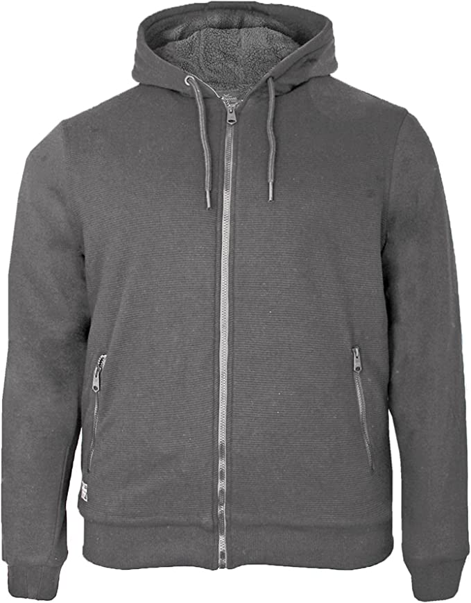 Mens Plain Zipper Hoodies American Zip Up Fleece Sweatshirts Jumper BORG LINED S