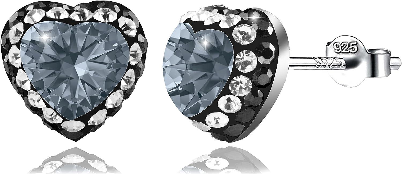 PAPOLY, Pendientes y collar DOBLE línea de cristal SWAROVSKI 0.33in/8,5mm PLATA DE LEY 925 en forma de Corazón,disponible en varios colores