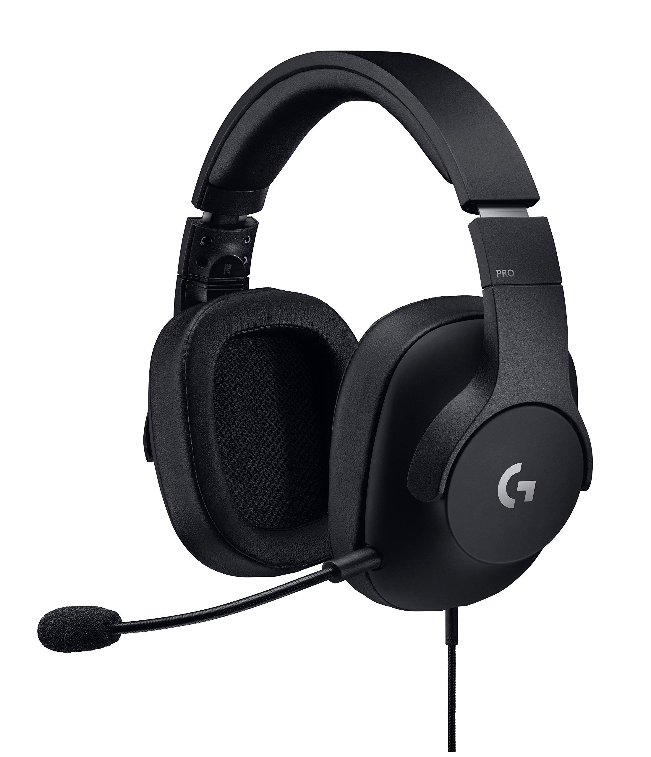 로지텍 G 프로게이밍 헤드셋 Logitech G Pro Gaming Headset with Pro Grade Mic for Pc, PC VR, Mac, Xbox One, Playstation 4, Nintendo Switch