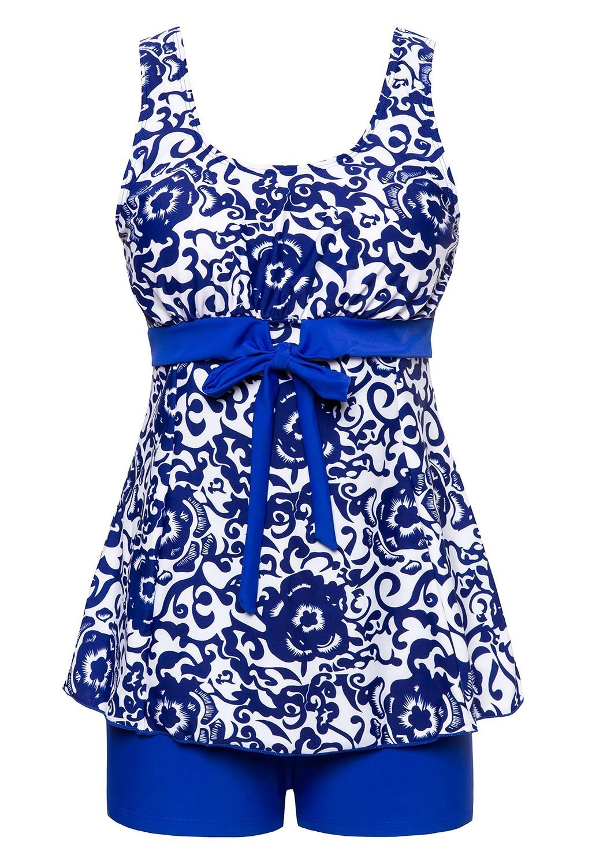 MiYang Women's Bowknot Printing Skirt Spa Swimsuit Bathing Swimwear