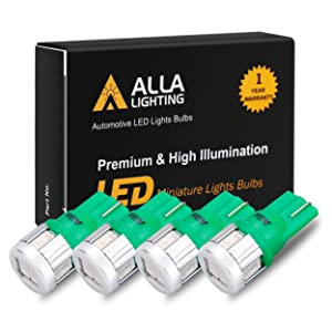 Alla Lighting 4x 194 LED Bulb Super Bright 175 168 2825 W5W T10 Wedge 5630 SMD Lights Replacement for Side Marker Interior Map Dome Trunk Parking Courtesy Lights, Ultra Green