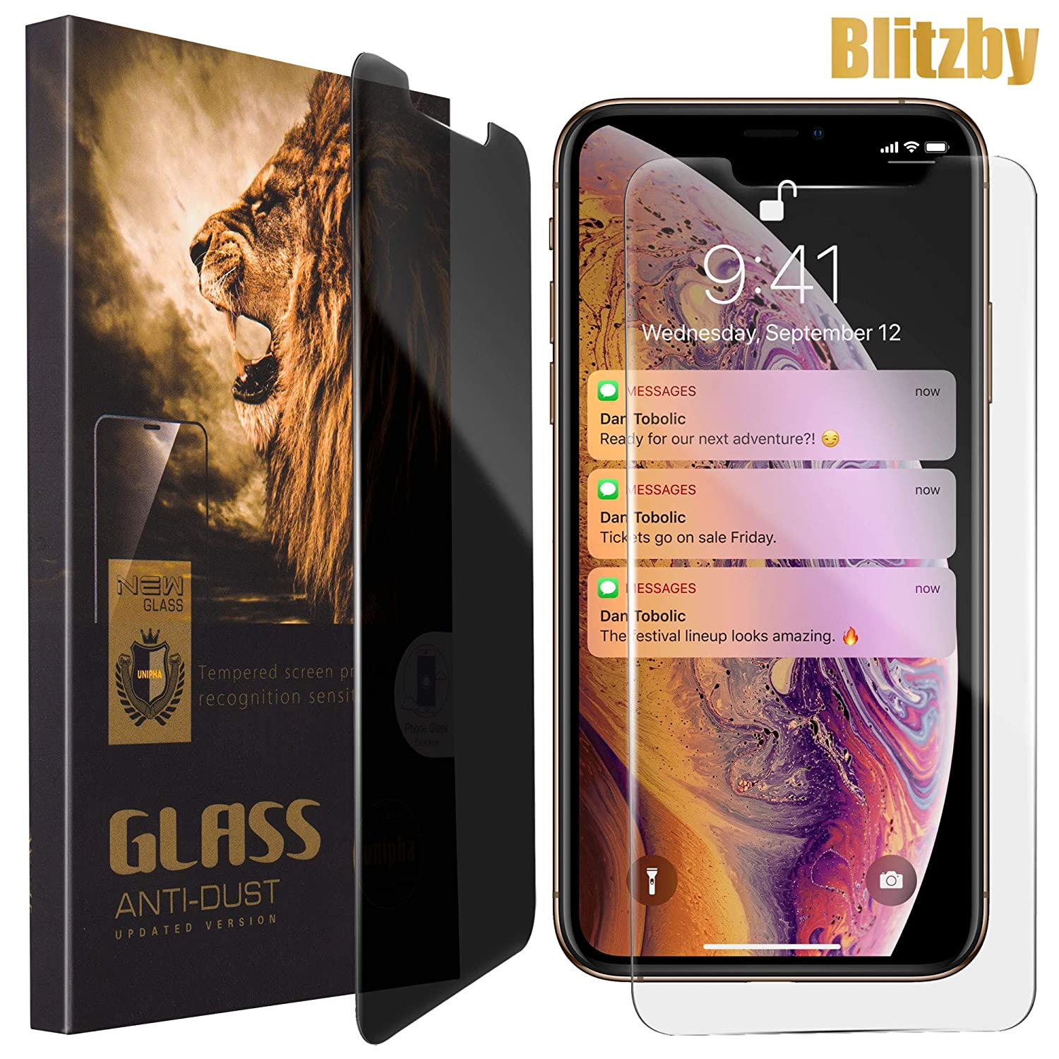 iPhone Xs Max Privacy Screen Protector Anti Spy Around You, Made of 0.30mm Premium Tempered Glass with 2.5D Rounded Edges