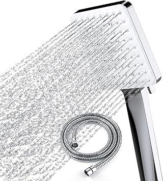 regadera de mano Alcachofa de ducha cuadrada grande de 8 pulgadas para montar en la pared rociador de masaje ajustable con manguera de 59 pulgadas y soporte de pared