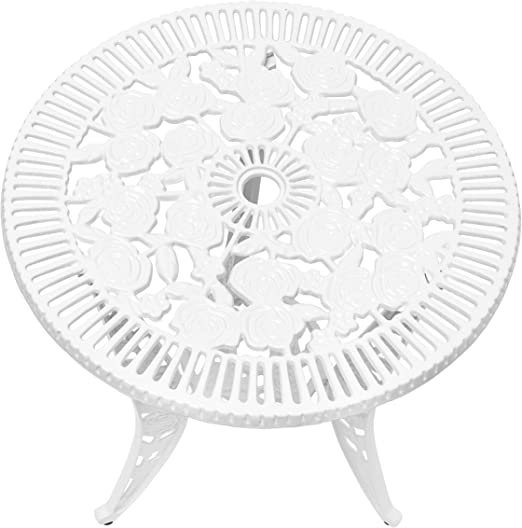 marr/ón Relaxdays Bistrotisch HBT 64 x 50 x 50 cm Gartentisch aus Aluminium Tisch f/ür Terrasse und Wintergarten Gartenm/öbel im Jugendstil mit Blumen Muster Bronze Mesa de jard/ín
