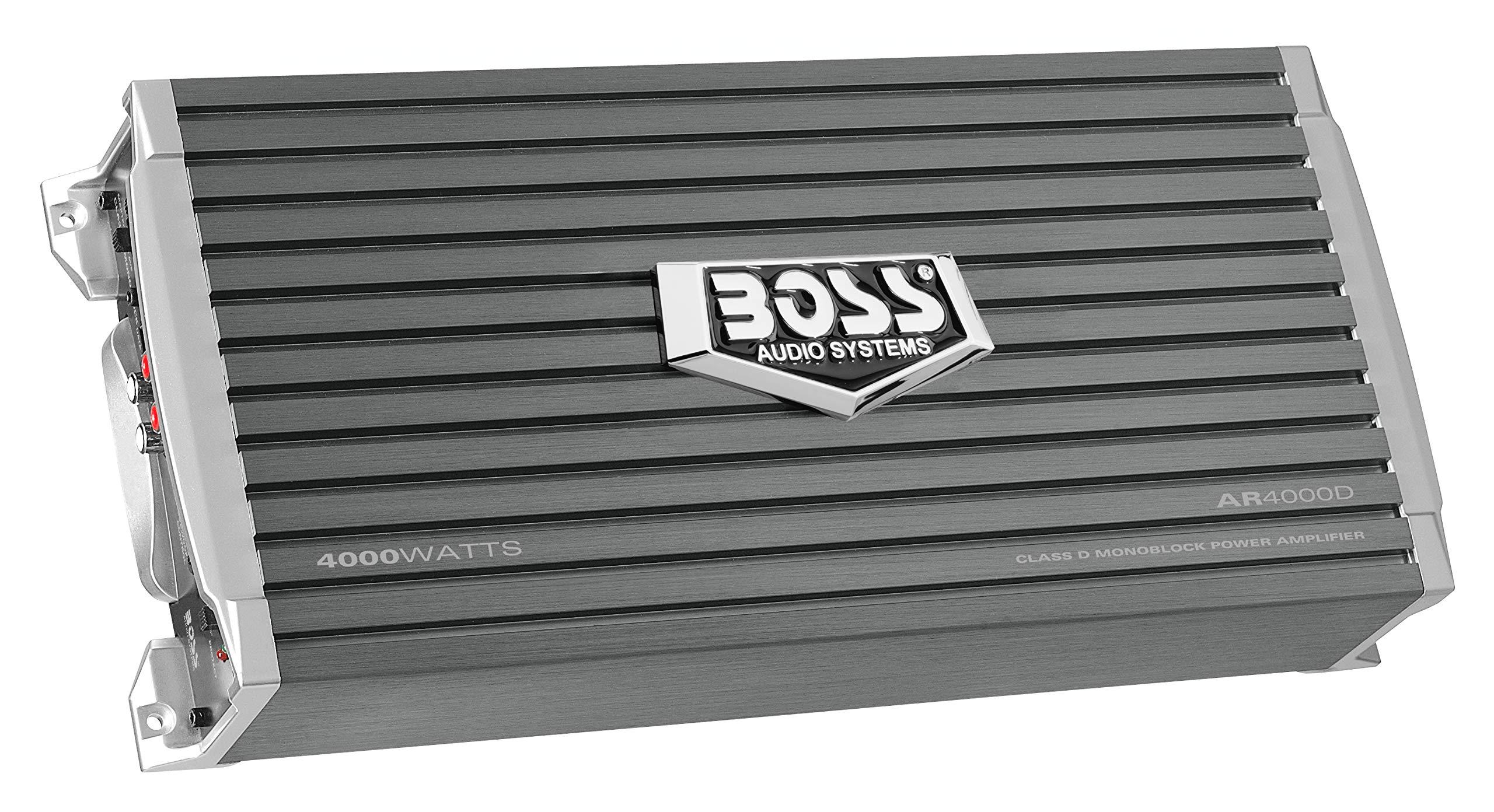 BOSS Audio AR4000D Armor 4000 Watt, 1, 2, 4 Ohm Stable Class D Monoblock Car Amplifier with Remote Subwoofer Control