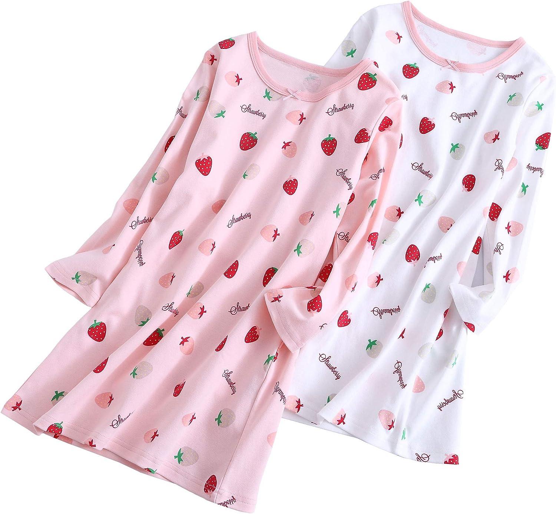 ABClothing Girls /& Mommy A Juego All Seasons Algod/ón Fresa y sand/ía Manga Corta y Larga Camis/ón 3-12 a/ños Blanco Rosa
