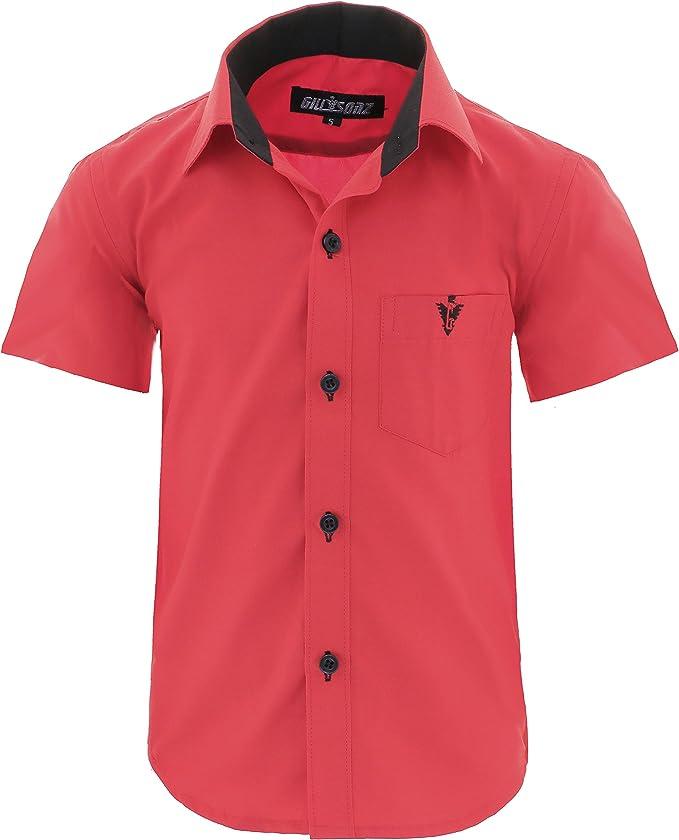 GILLSONZ A70vDa - Camisa de fiesta para niños, fácil planchado, manga corta, 7 colores, talla 86 – 158: Amazon.es: Ropa y accesorios