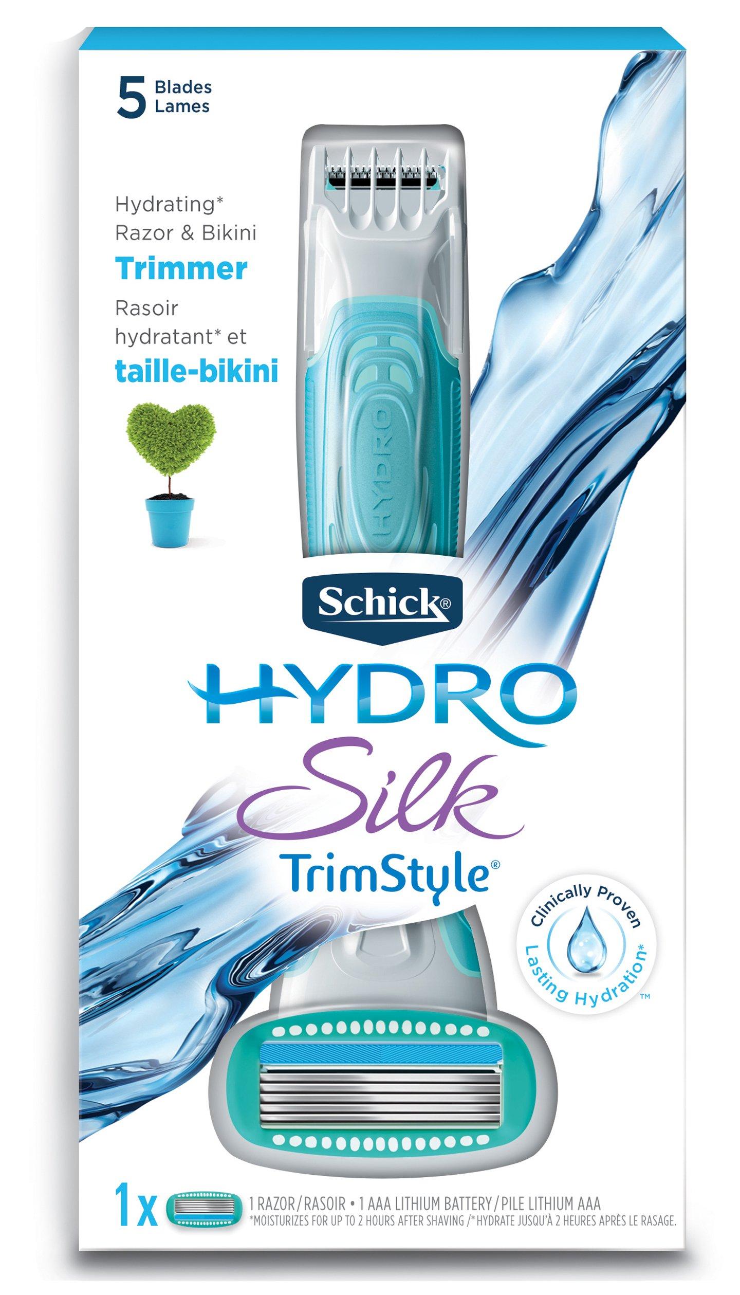Schick Hydro Silk TrimStyle Moisturizing Razor for Women with Bikini Trimmer