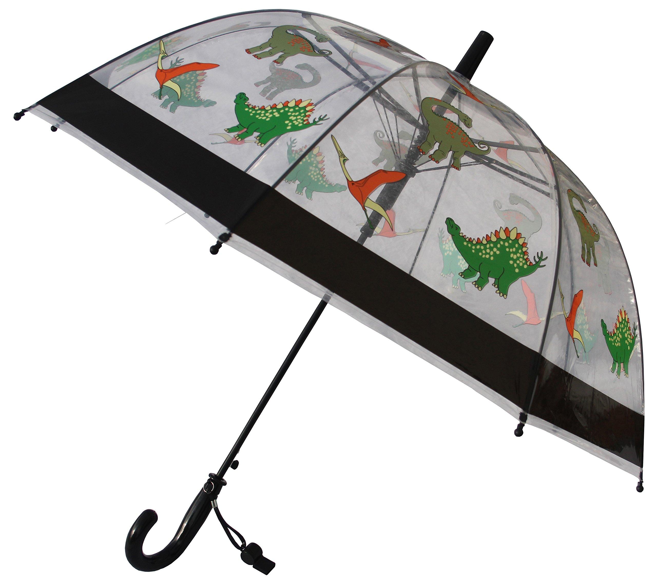 Foxfire for Kids Clear Dome Umbrella (Black Dinosaurs)