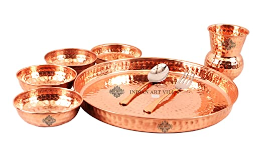 Buy Indian Art Villa Hammered Traditional Design Copper Thali Multicuisine Dinnerware Set 8 Pieces Online at Low Prices in India - Amazon.in  sc 1 st  Amazon.in & Buy Indian Art Villa Hammered Traditional Design Copper Thali ...