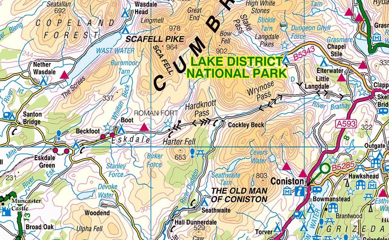 The Beautiful Lake District Map 59.4 x 84.1 cm