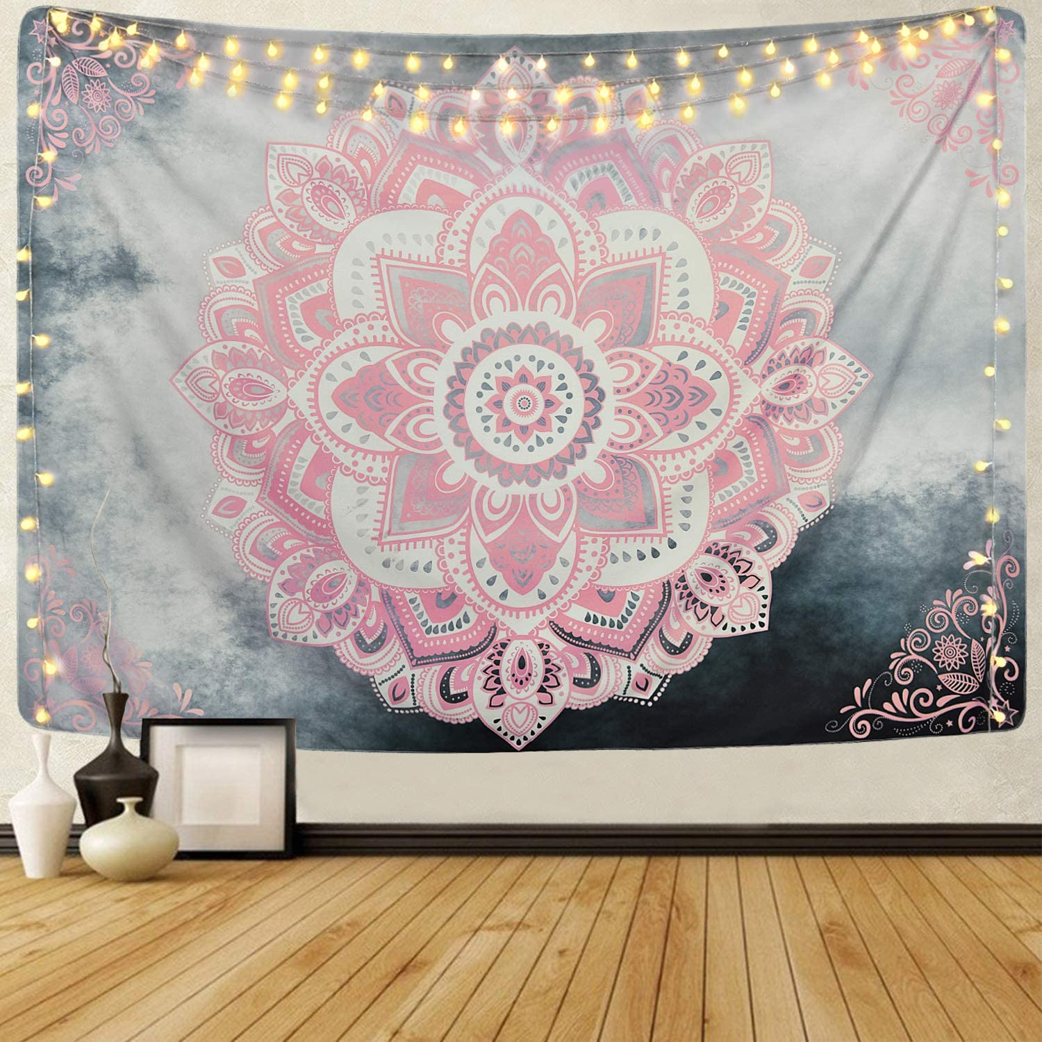 Sevenstars Pink Mandala Tapestry Bohemian Tapestries Hippie Tapestry Floral Medallion Tapestry for Bedroom
