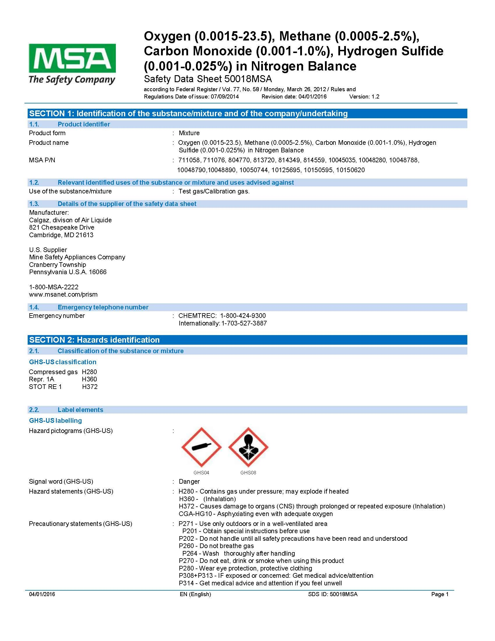 MSA 10048280 Calibration Gas Cylinder (CH4/LEL, 02, CO & H2S)