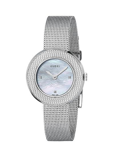 Gucci YA129517 - Reloj de cuarzo para mujer, con correa de acero inoxidable, color plateado: Amazon.es: Relojes