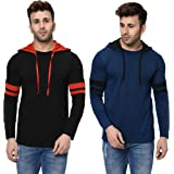 JANGOBOY Men's Combo Cotton Full Sleeves Striped Hoodie T-Shirt (Pack of 2)