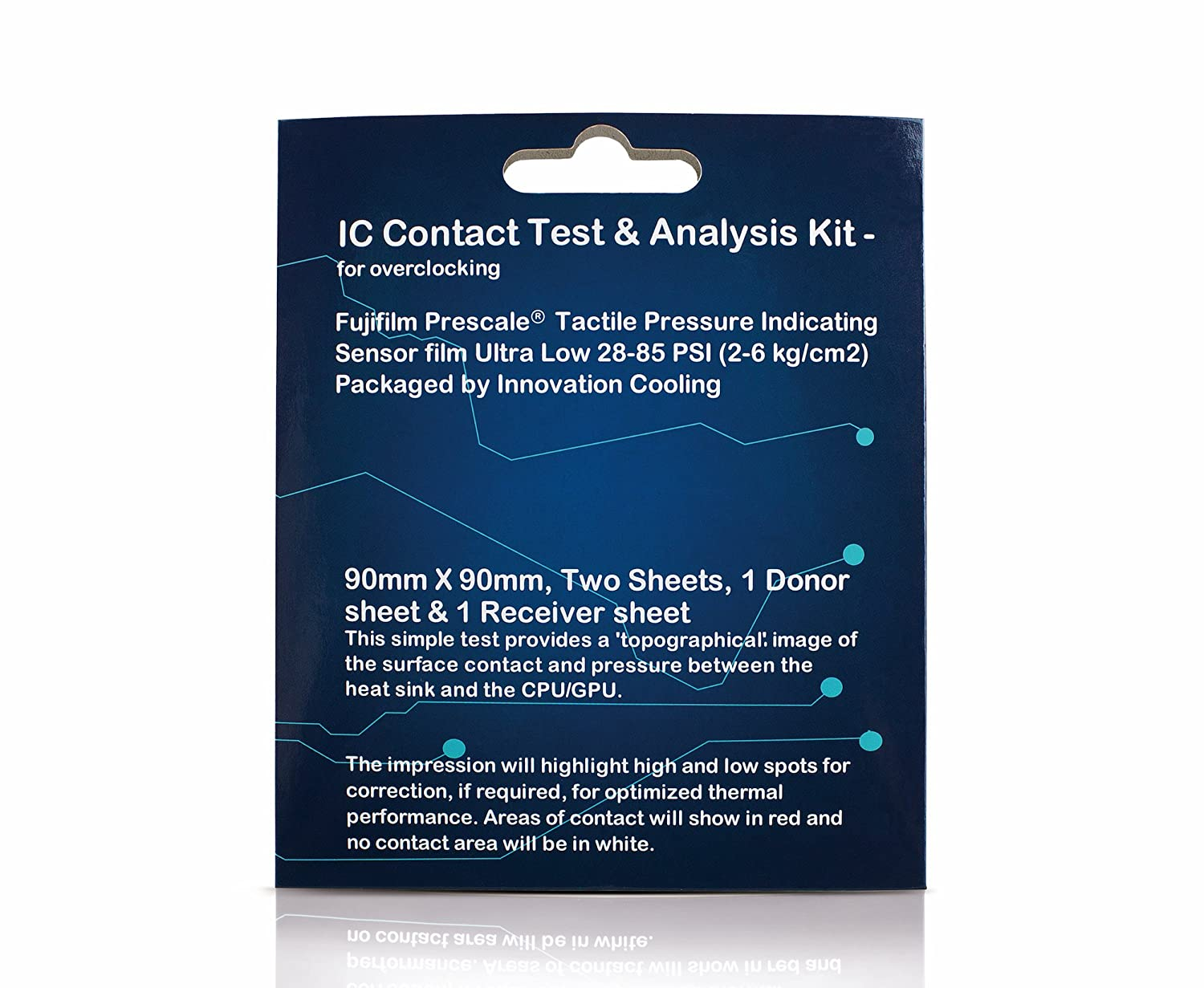 Innovation Cooling IC Contact Test and Analysis Kit For CPU GPU Heatsink – Includes Tactile Pressure Indicating Sensor Film Sheets, 90 mm x 90 mm