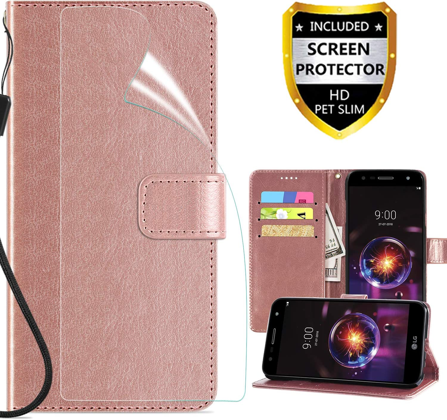 LG X Power 2 Wallet Case,LG X Charge Case,LG Fiesta LTE/Fiesta 2 LTE Case Cover,PU Leather Built-in Card Slots Flip Magnetic Cover w/Kickstand/Straps/Screen Protector for Girls Women,Rose Gold