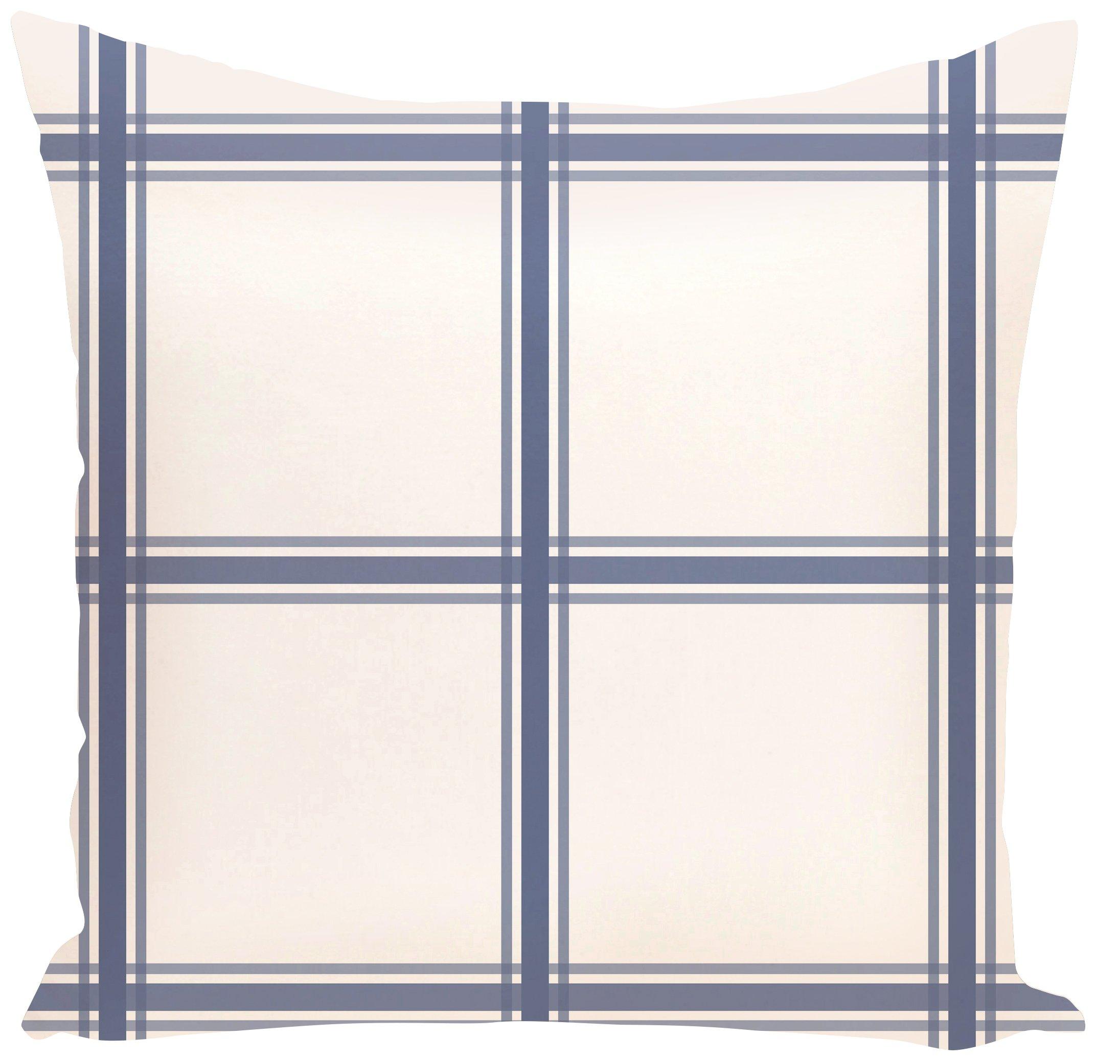 E by design O5PGN127BL15-16 Windowpane Plaid Geometric Print Blue Outdoor Pillow