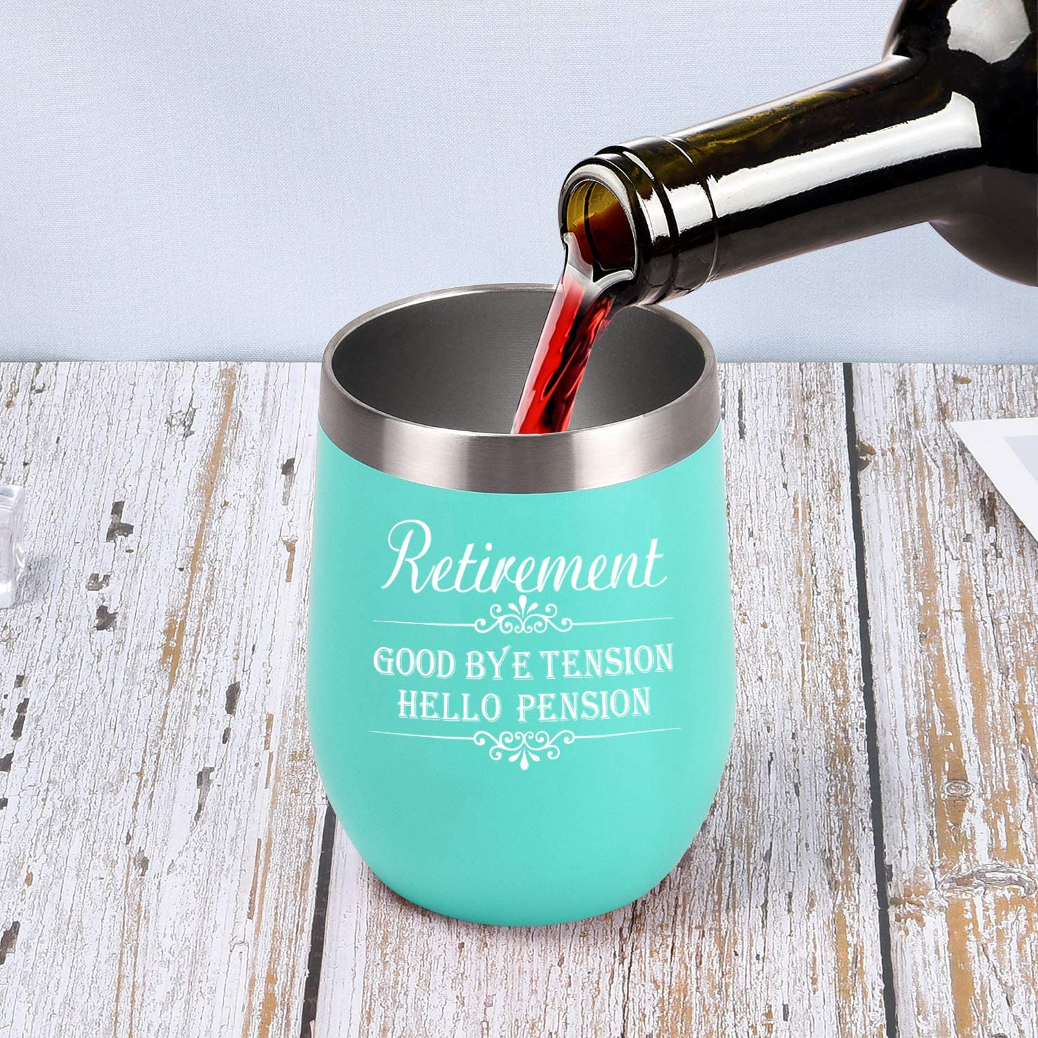 Teachers 12 Oz Insulated Stainless Steel Wine Tumbler Wife Coworkers Mom Retirement Tumbler Gifts Good Bye Tension Hello Pension Wine Tumbler Mint Best Friends BFF Funny Gift for Women