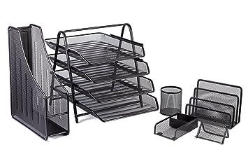 Halter 6 Piece Mesh Office Desk Set   4 Tier File Tray / Folder Holder /