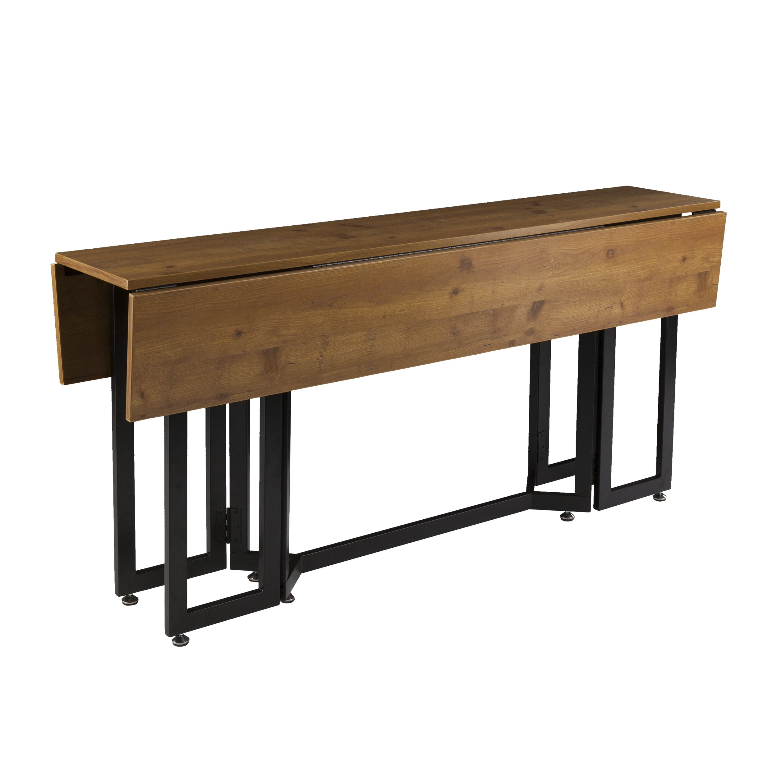 Holly & Martin Driness Drop Leaf Console Dining Table, Weathered Oak Finish with Black Metal Base by Holly & Martin (Image #3)