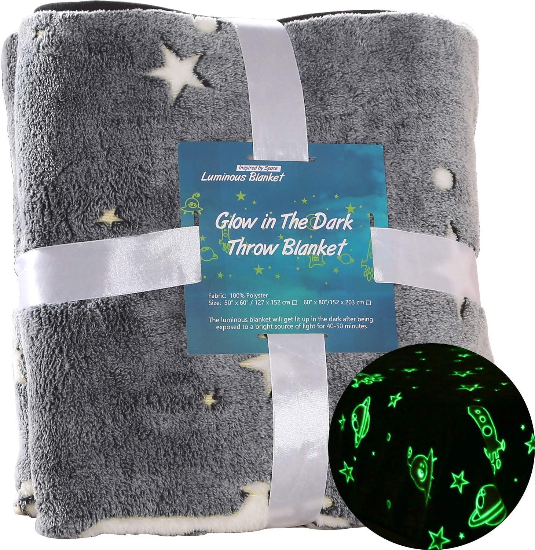 VIVILINEN Mantas Luminosas Que Brillan en la Oscuridad Mantas para Sofás de Felpa de Franela Manta Suave para Cama de Estrellas Lunas Astronautas Manta Cálida para Niños Niñas