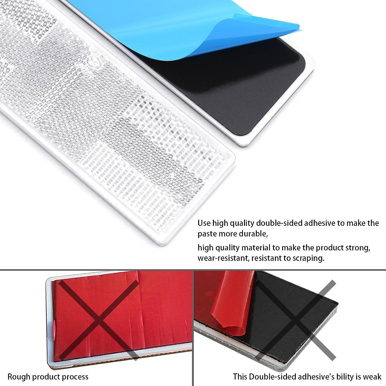 6 Rectangular Red Stick-on Screw-mount Reflectors Red,12pcs, Adhesive//Screw Mount