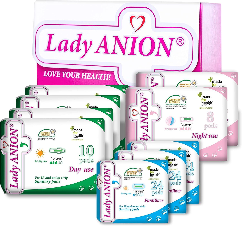 Set menstrual Lady Anion, Algodón organico certificado – 3 Tipos en 1 set (en total 128 piezas) I Compresas algodon: Amazon.es: Salud y cuidado personal